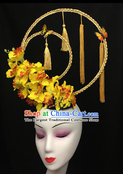 Top Halloween Yellow Flowers Tassel Hair Accessories Chinese Traditional Catwalks Giant Headpiece for Women