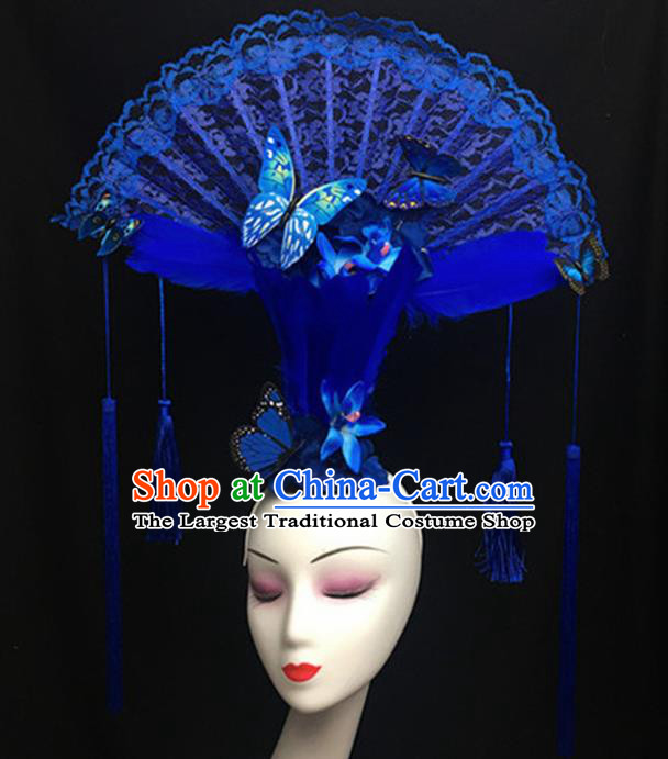 Top Halloween Giant Hair Accessories Chinese Traditional Catwalks Blue Lace Headpiece for Women