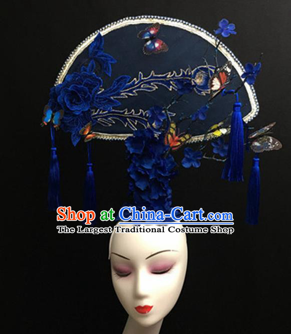 Top Halloween Giant Blue Peony Hair Accessories Chinese Traditional Catwalks Headpiece for Women