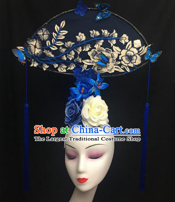 Top Halloween Stage Show Giant Hair Accessories Chinese Traditional Catwalks Headpiece for Women