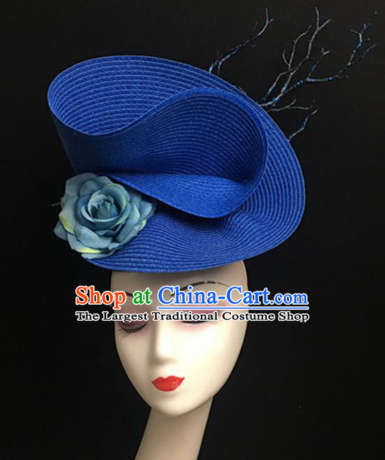 Top Halloween Catwalks Hair Accessories Stage Show Blue Classical Top Hat Headdress for Women