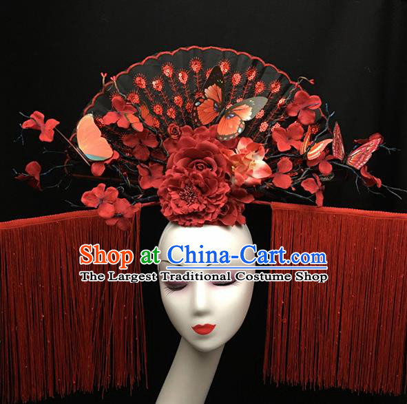Top Halloween Red Tassel Giant Hair Accessories Stage Show Chinese Traditional Palace Catwalks Headpiece for Women