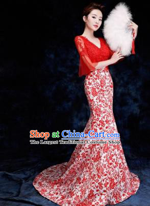 Chinese Traditional Costumes Elegant Red Lace Full Dress Compere Qipao Dress for Women