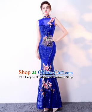 Chinese Traditional Royalblue Cheongsam Elegant Embroidered Qipao Dress Compere Full Dress for Women