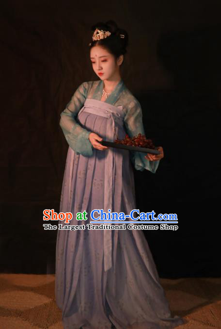 Traditional Chinese Tang Dynasty Princess Hanfu Dress Ancient Peri Silk Historical Costumes Complete Set