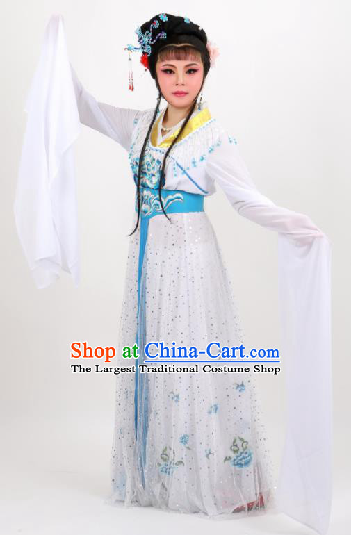 Professional Chinese Traditional Peking Opera Princess White Dress Ancient Palace Lady Costume for Women