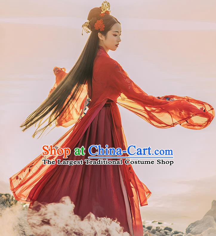 Asian Chinese Tang Dynasty Royal Princess Red Hanfu Dress Traditional Ancient Goddess Wedding Costumes for Women
