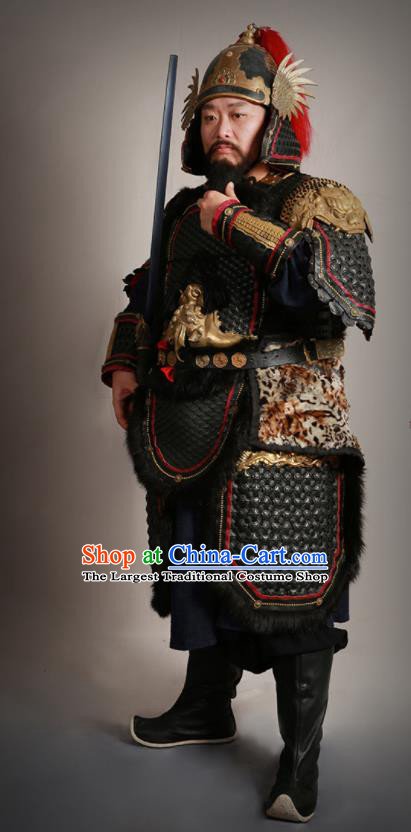 Traditional Chinese Song Dynasty General Body Armor and Helmet Ancient Military Officer Costumes for Men