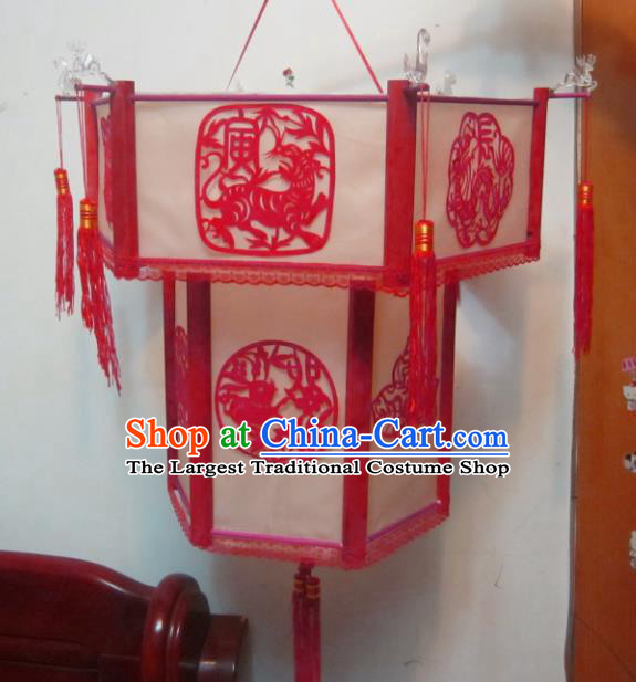 Chinese Traditional New Year Paper Cutting Zodiac Palace Lantern Asian Handmade Lantern Ancient Lamp