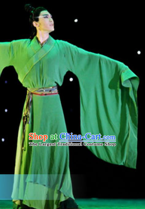 Traditional Chinese Classical Dance Li Bai Green Costumes Dance Competition Stage Show Clothing for Men