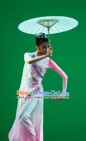 Traditional Chinese Classical Dance Competition Costumes Umbrella Dance Stage Show Green Dress for Women