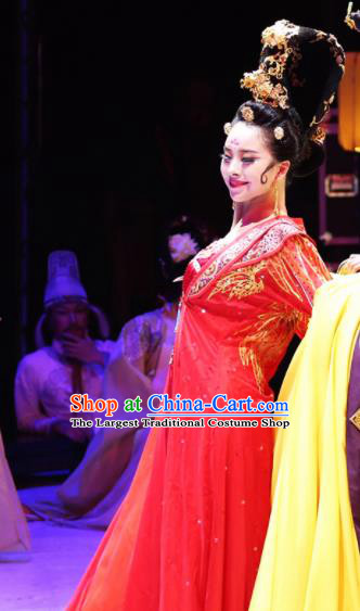 Traditional Chinese Classical Dance Competition Costumes Drunkened Concubine Dance Stage Show Red Dress for Women