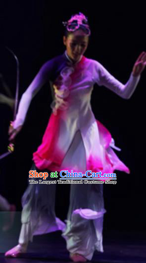 Traditional Chinese Classical Dance Competition Costumes Umbrella Dance Group Dance Stage Show Dress for Women