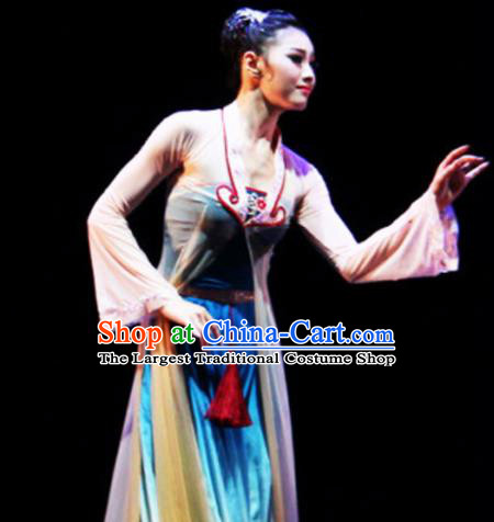 Traditional Chinese Classical Dance Competition Costumes Fan Dance Group Dance Stage Show Dress for Women