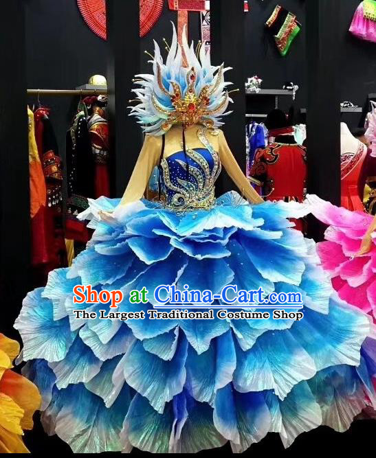 Traditional Chinese Spring Festival Gala Peony Dance Blue Dress Classical Dance Stage Show Costume for Women