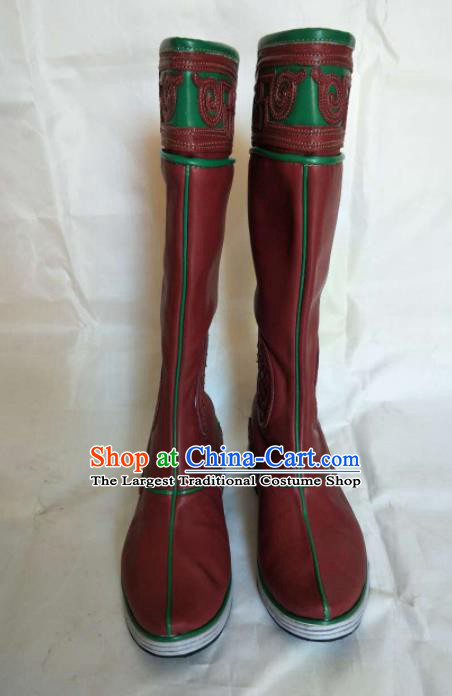 Chinese Traditional Mongol Nationality Red Boots Mongolian Ethnic Leather Riding Boots for Men
