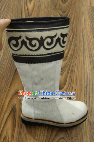 Chinese Traditional Mongol Nationality White Fur Boots Mongolian Ethnic Leather Riding Boots for Men