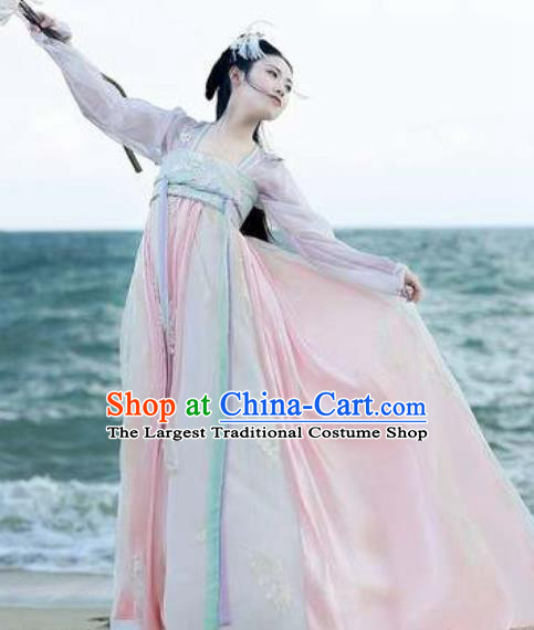 Asian Chinese Tang Dynasty Court Hanfu Dress Traditional Ancient Princess Goddess Costumes for Women
