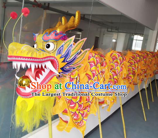 Chinese New Year Dragon Dance Competition Yellow Dragon Head Traditional Dragon Dance Prop Complete Set for Adult