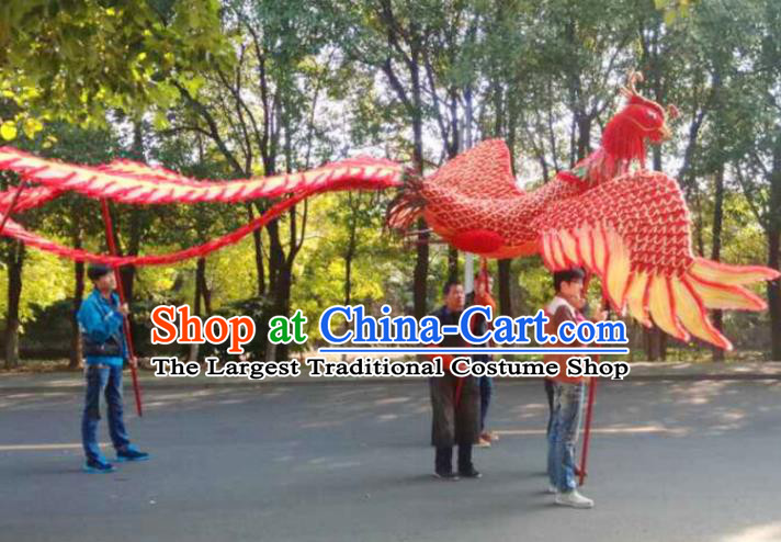 Chinese Lantern Festival Dragon Dance Competition Red Phoenix Head Traditional Dragon Dance Prop Complete Set for Adult