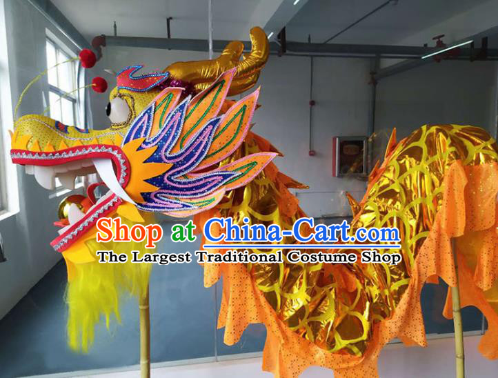 Chinese New Year Dragon Dance Competition Golden Dragon Head Traditional Dragon Dance Prop Complete Set for Adult