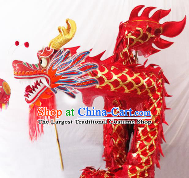 Chinese New Year Dragon Dance Competition Red Dragon Head Traditional Dragon Dance Prop Complete Set for Adult