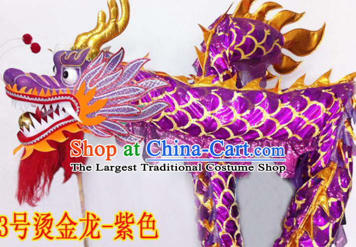 Chinese New Year Dragon Dance Competition Purple Dragon Head Traditional Dragon Dance Prop Complete Set for Adult