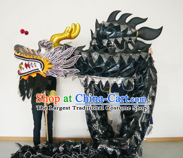 Chinese New Year Dragon Dance Competition Black Dragon Head Traditional Dragon Dance Prop Complete Set for Adult