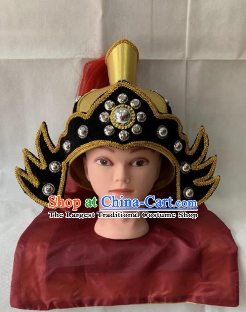 Chinese Beijing Opera Takefu Hat Traditional Peking Opera Soldier Helmet Headwear for Men