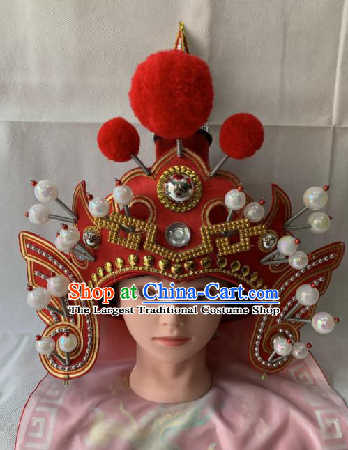 Chinese Beijing Opera Takefu Red Hat Traditional Peking Opera Soldier Helmet Headwear for Men