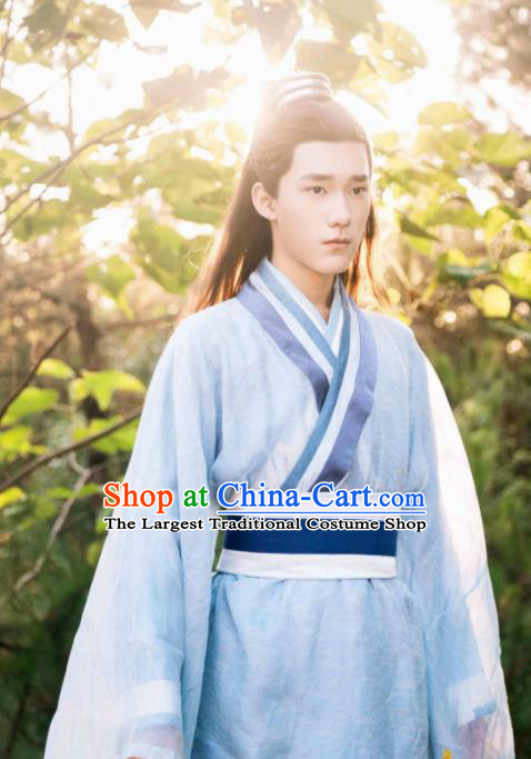 Ancient Chinese Nobility Childe Blue Hanfu Clothing Drama Jia Feng Xu Huang Swordsman Costumes for Men