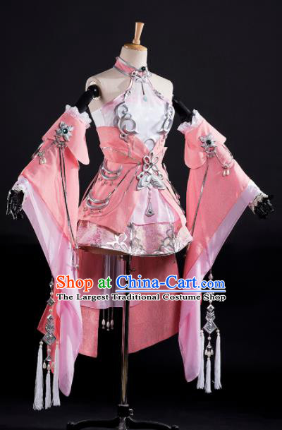 Traditional Chinese Cosplay Female Swordsman Pink Dress Ancient Drama Fairy Princess Costumes for Women