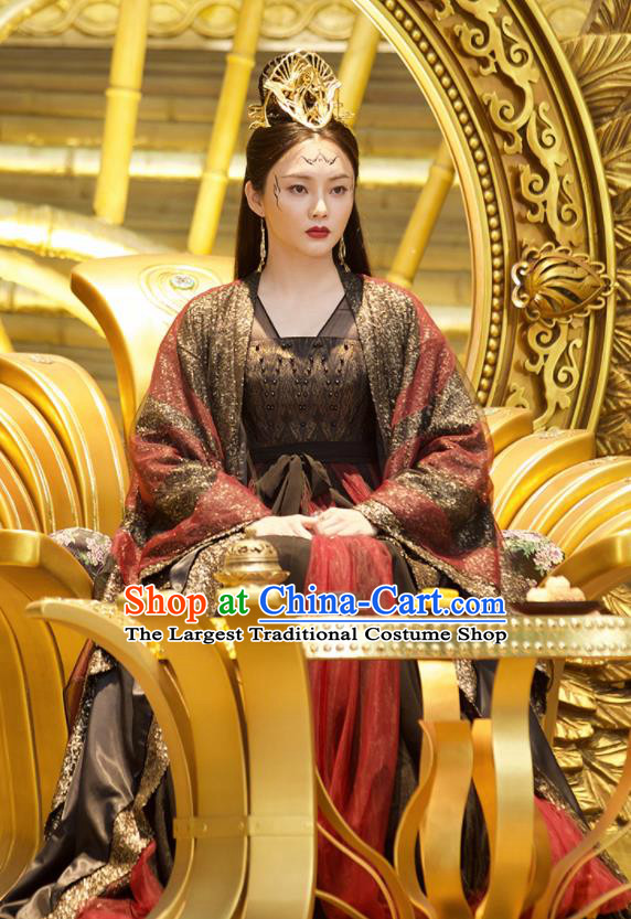 Ancient Chinese Queen Ling Yue Drama Love and Destiny Replica Costumes and Headpiece for Women