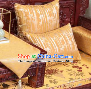 Traditional Chinese Pillowslip Classical Bamboo Pattern Yellow Brocade Cover Two Pieces Complete Set Home Decoration Accessories