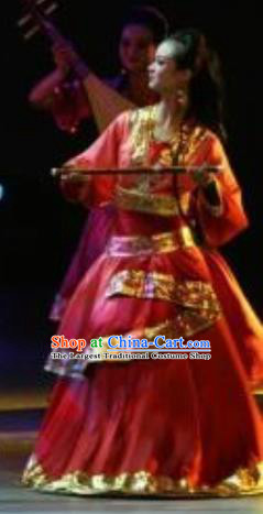 Chinese Zhaojun Chu Sai Classical Dance Red Dress Stage Performance Costume and Headpiece for Women