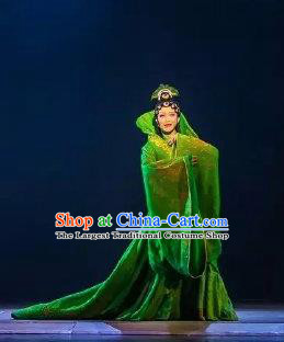 Chinese Zhaojun Chu Sai Ancient Imperial Consort Classical Dance Green Dress Stage Performance Costume and Headpiece for Women