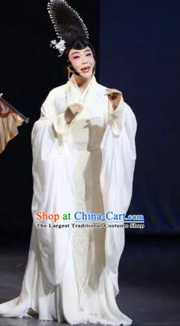 Chinese Zhaojun Chu Sai Ancient Imperial Consort Classical Dance White Dress Stage Performance Costume and Headpiece for Women