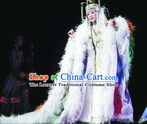 Chinese Zhaojun Chu Sai Ancient Court Queen Feather Dress Stage Performance Dance Costume and Headpiece for Women