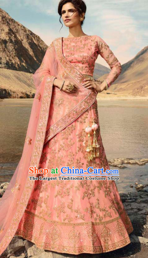 Indian Traditional Lehenga Embroidered Pink Dress Asian India National Festival Costumes for Women