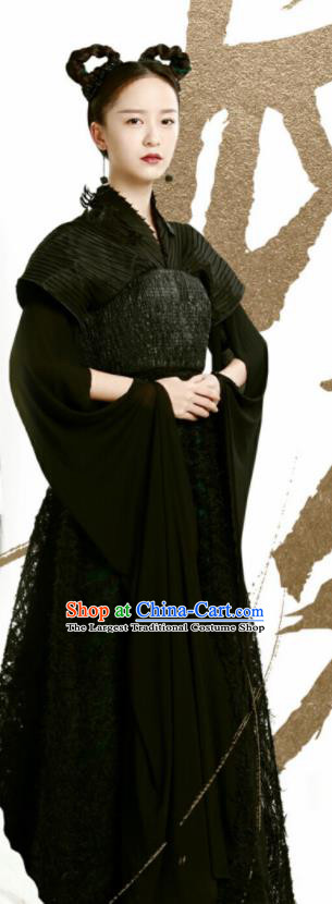 Chinese Drama Ancient Female Swordsman Black Dress Love and Destiny Hua Yan Replica Costumes and Headpiece for Women