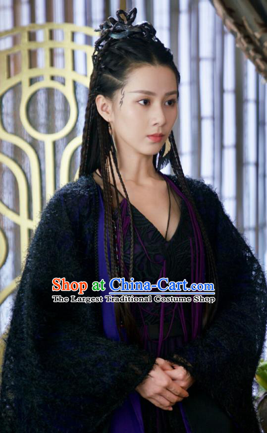 Chinese Drama Ancient Princess Black Dress Love and Destiny Female Swordsman Bao Qing Replica Costumes for Women