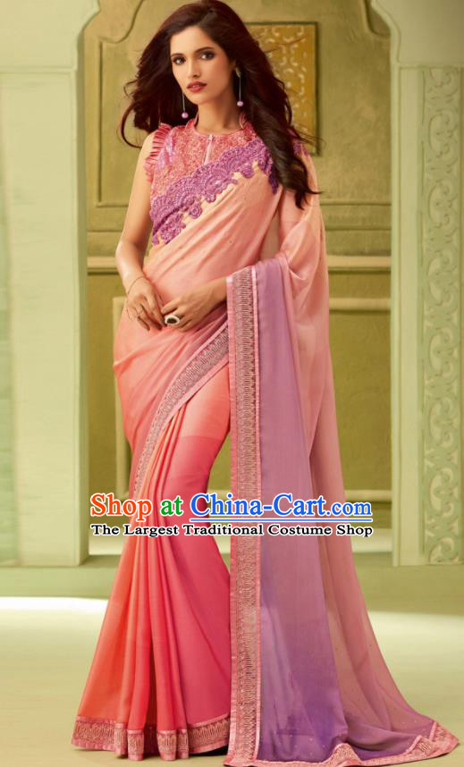 Indian Traditional Sari Bollywood Court Pink Dress Asian India National Festival Costumes for Women