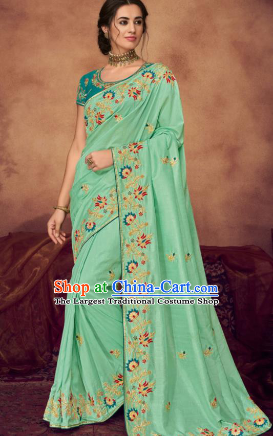 Indian Traditional Court Bollywood Embroidered Light Green Sari Dress Asian India National Festival Costumes for Women