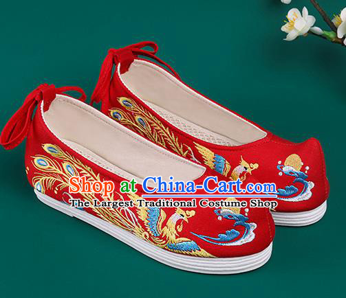 Chinese Traditional Embroidered Phoenix Red Shoes Hanfu Shoes Princess Shoes for Women