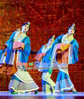 Lady Zhaojun Chinese Han Dynasty Dance Blue Dress Stage Performance Dance Costume and Headpiece for Women