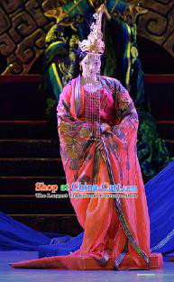 Chinese Lady Zhaojun Ancient Royal Princess Red Dress Stage Performance Dance Costume and Headpiece for Women