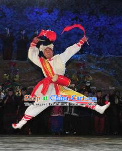 Drama Lan Huahua Chinese Shan Xi Drum Dance Clothing Stage Performance Dance Costume and Headpiece for Men