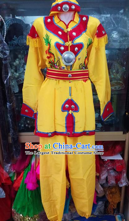 Chinese Traditional Beijing Opera Takefu Costume Peking Opera Martial Yellow Clothing for Adults