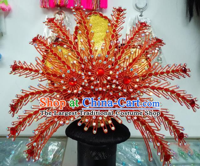 Chinese Traditional Beijing Opera Hair Accessories Peking Opera Red Phoenix Coronet Hairpins for Adults