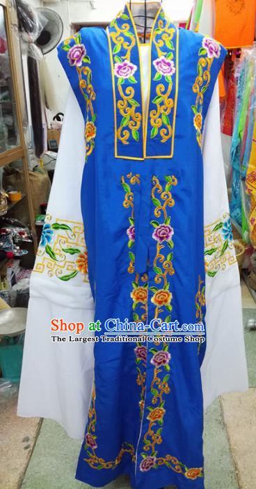 Chinese Traditional Beijing Opera Old Gentleman Costume Peking Opera Embroidered Royalblue Clothing for Adults